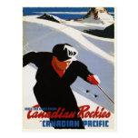 Postal con la impresión del esquí de Rockies del c