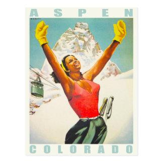 Postal con la impresión del esquí del vintage de A