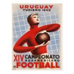 Postal con la impresión del fútbol del vintage de