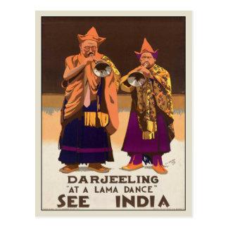 Postal con la impresión del poster de la India del
