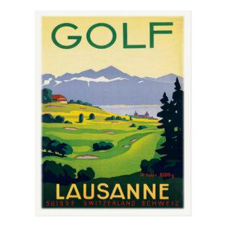 Postal con la impresión del poster del golf del vi