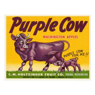 Postal con la impresión púrpura de las manzanas de