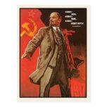 Postal con la impresión retra del poster de Lenin