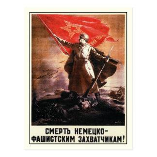 Postal con la impresión rusa de la propaganda de W