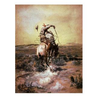 Postal con la pintura de Charles Marion Russell