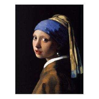 Postal con la pintura de Juan Vermeer