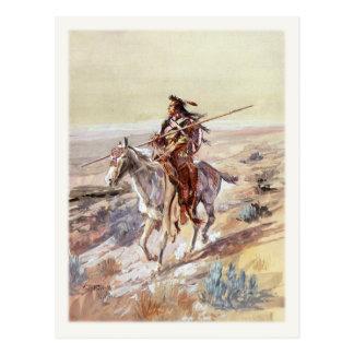 Postal con la pintura del nativo americano