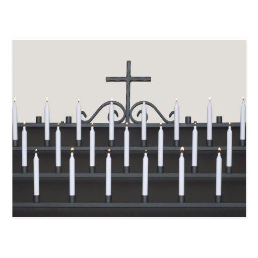 Postal con las velas cristianas