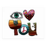 Postal, corazón del ojo usted, Doodle pintado