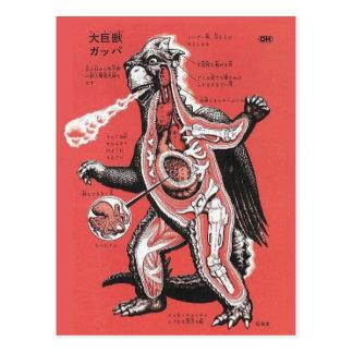 Postal cortada japonesa del monstruo del vintage