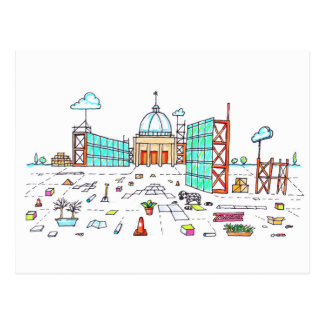 Postal creativa del bosquejo de Milton Keynes