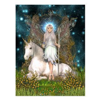 Postal cristalina de la hada y del unicornio