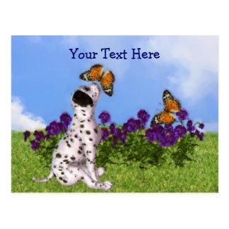 Postal dálmata del personalizable de las mariposas