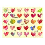 Postal de 30 corazones de la tarjeta del día de