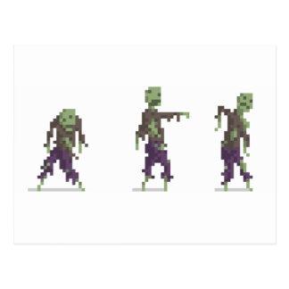 Postal de 8 bits del arte del pixel del zombi