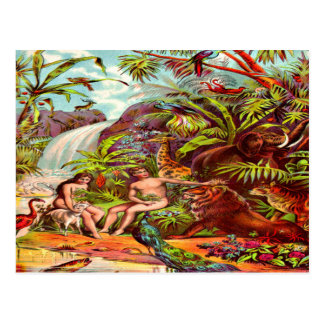 Postal de Adán y de Eva