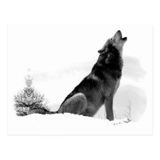 Postal de Alaska del lobo de madera