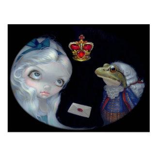 """Postal de """"Alicia y del lacayo de la rana"""""""