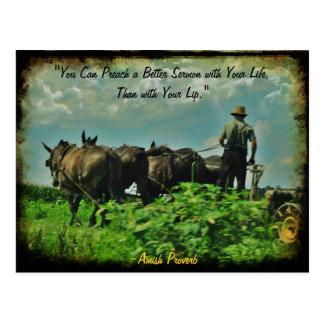Postal de Amish. ¡Proverbio! ¡Añada la tienda o su