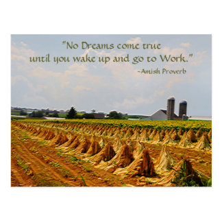 Postal de Amish. Proverbio. Sueños. Postal 2 del