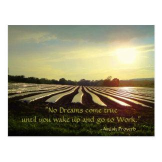 Postal de Amish. Proverbio. Sueños. Trabajo.