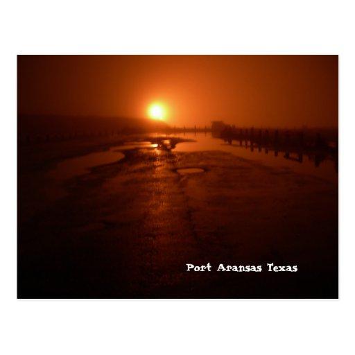 Postal de Aransas del puerto (medianoche en el emb
