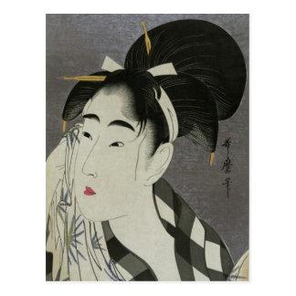 Postal de Ase O Fuku Onna de Kitagawa Utamaro
