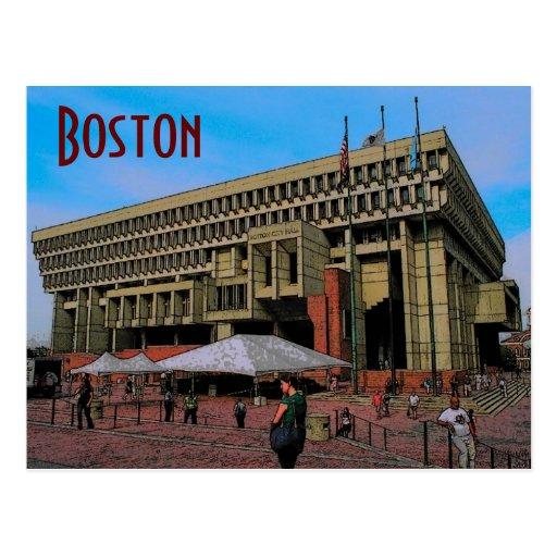 Postal de ayuntamiento de Boston