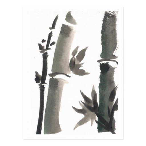 Postal de bambú del arte del zen