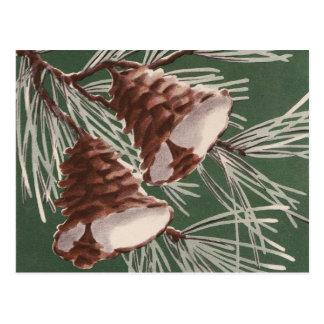 Postal de Belces de navidad del cono del pino del