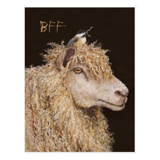 Postal de BFF con las ovejas y el chickadee