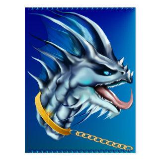 Postal de cadena del dragón y del oro