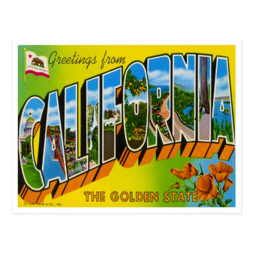 Postal de California del vintage