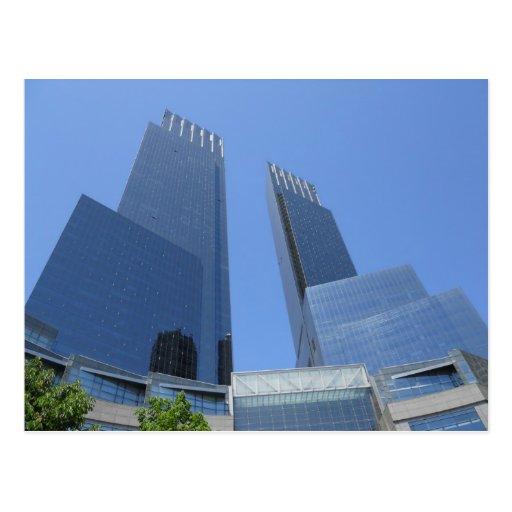 Postal de centro Manhattan Nueva York de Time Warn