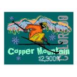 Postal de cobre de la elevación del esquí de la mo