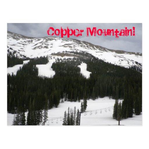 Postal de cobre del área del esquí de la montaña