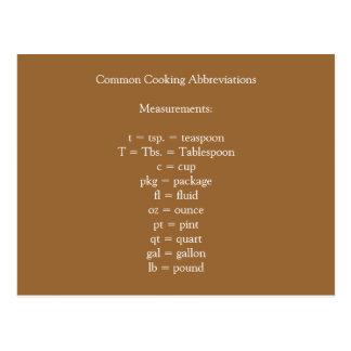 Postal de cocinar común de las abreviaturas