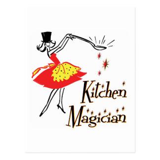 Postal de cocinar retra del arte del mago de la co