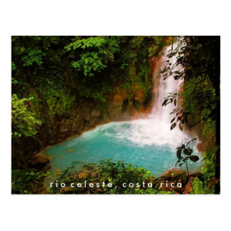 Postal de Costa Rica de la cascada de Río Celeste