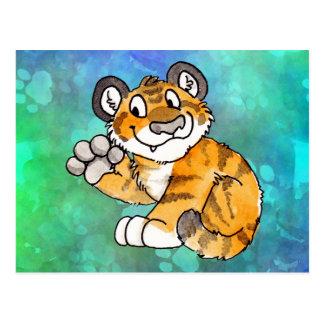 Postal de Cub de tigre que agita