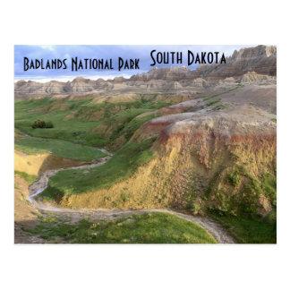 Postal de Dakota del Sur del parque nacional de lo