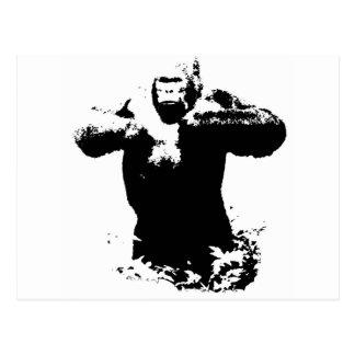 Postal de derrota del pecho del gorila del arte