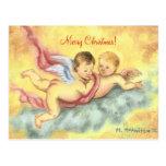 Postal de dos navidad de las querubes (ángeles)