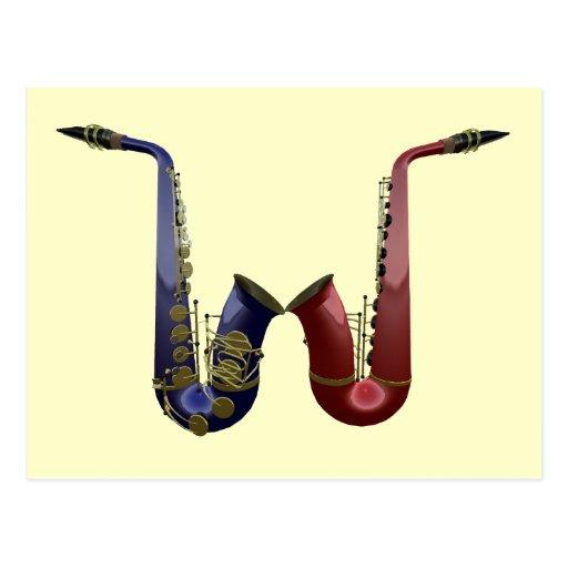 Postal de dos saxofones