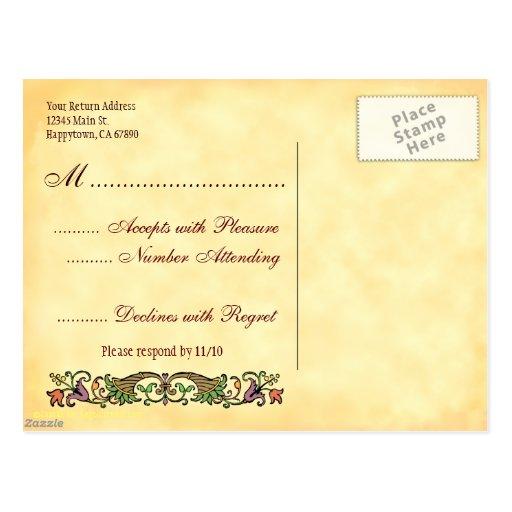Postal de encargo de RSVP de la acción de gracias