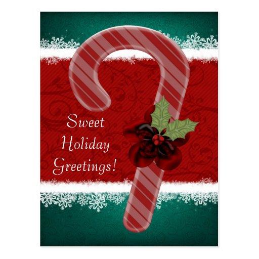Postal de encargo del bastón de caramelo del navid