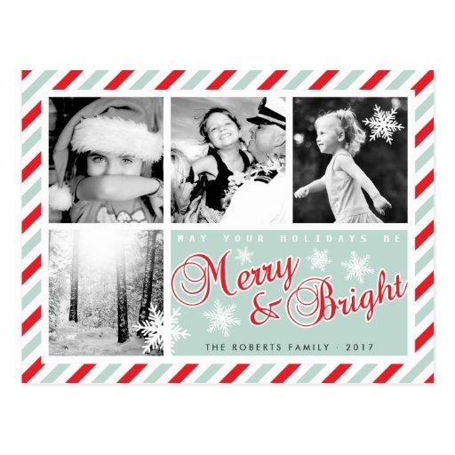 Postal de encargo feliz y brillante del navidad de