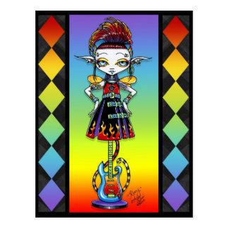 Postal de Fae del arco iris de Psychobilly del pal