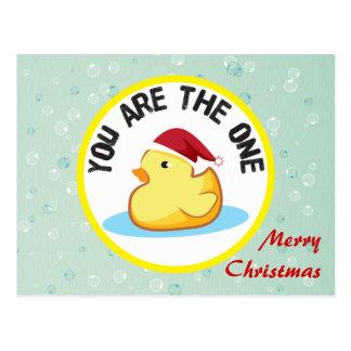 Postal de goma amarilla del duckie de las Felices