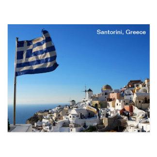 Postal de Grecia con el paisaje de Santorini